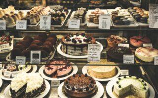 display fridge with cakes